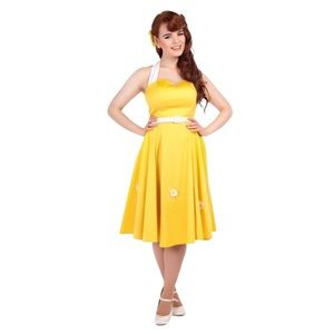 COLLECTIF Mainline Yellow Daisy Swing Dress